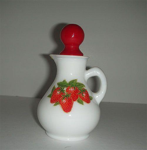 Carmel Kitchen Expansion: Avon Strawberry & Cream Milk Glass Cruet From