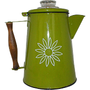 "Vintage enamel green coffee ""Country Cookery"" pot"