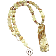Carved Golden Jade Phoenix and Chrysanthemums, Variegated Green Onyx Necklace