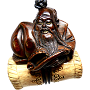 Carved Teak God of Longevity on an Old Indonesian Decorated Bone Pendant Necklace