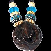 Teak Double Fish, Glass Lamp Work and Antique Dutch African Vaseline Glass Pendant Necklace