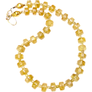 Golden Citrine and Faceted Citrine Necklace