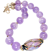 Lavender Amethyst with Hand Blown Glass Bead Necklace