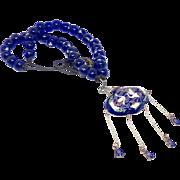Japanese Cloisonne Incense Holder. Tsaru Wedding Symbol. Vintage Blue Glass Lamp Work Bead Necklace