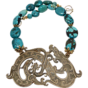 Vintage Carved Old Jade Double Phoenix nd a Dragon with Chinese Turquoise Necklace