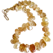 Faceted Citrine Nugget Necklace