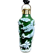 Vintage Chinese Green Green Glass Dragon Perfume Bottle Pendant Necklace
