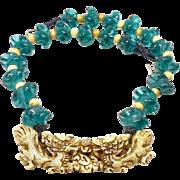Carved Bone Double Sea Dragon, Aqua Green Indonesian Glass Necklace