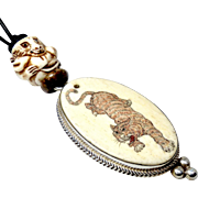 Etched and Carved Bone Tiger Pendant Necklace
