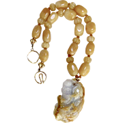 Carved Golden and White Jade God of Longevity with Golden Agate Necklace