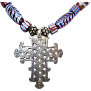 Old Ethiopian Silver Coptic Cross and African Cobalt Feather Tribal Glass Necklace