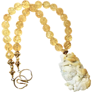 Carved Golden and White Jade Dragon and Bat with High Quality Faceted Citrine Necklace