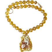 Carved Golden Jade Double Dragons, Faceted Citrine Necklace