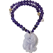 Lavender Jade Boy Riding a Fish with Amethyst Necklace