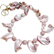 Pink Mother Of Pearl Shell Drops, Jasper Necklace