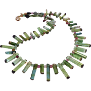 Exceptional Gemstone Quality Watermelon Tourmaline Drops Necklace