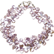 Wine Keishi Petal Pearl Necklace