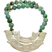 Carved Vintage Jade Dragon, Double Phoenix, Chrysoprase Necklace