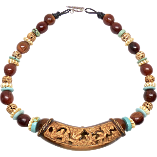 Chinese Carved Wood with African Mali Amber, Horn, Turquoise and Carved Bone Necklace