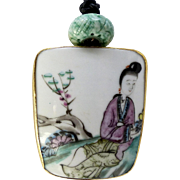 Antique Chinese Porcelain Shard, Carved Jade Pendant Necklace
