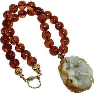 Vintage Carved Jade Deer with Top Quality Baltic Amber Necklace