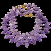 Amethyst Fancy Drop Double Strand Necklace
