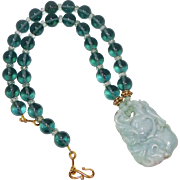 Carved Green Jade Dragon and Bat with Green Obsidian Necklace