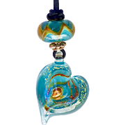 Turquoise Glass Lamp Work Heart Pendant Necklace