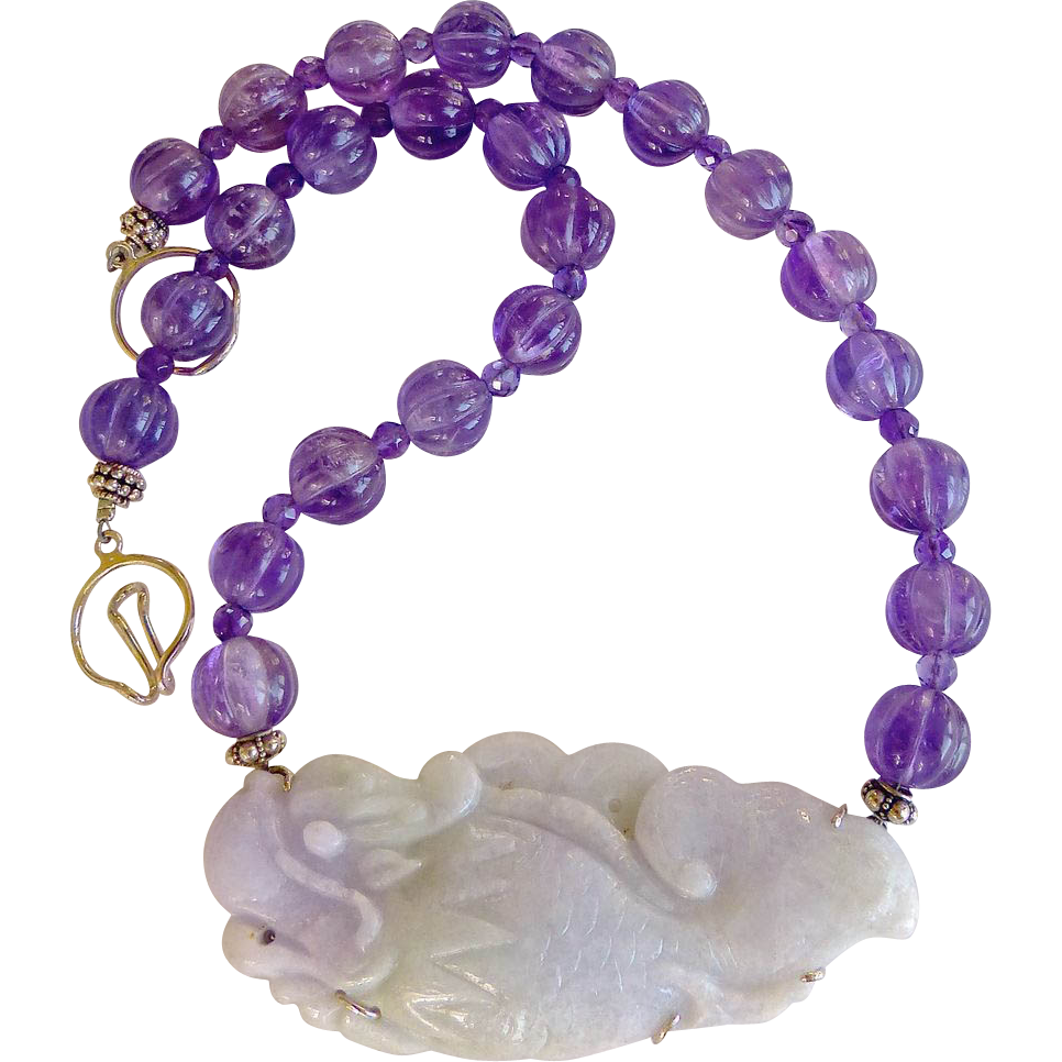 Lavender Jade Dragonfish, Amethyst Necklace