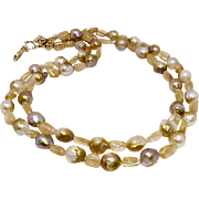 Golden Baroque Pearls with Imperial Topaz Necklace