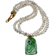 Chinese Natural Green Jade Bat and Peach with Fresh Water Pearl Necklace