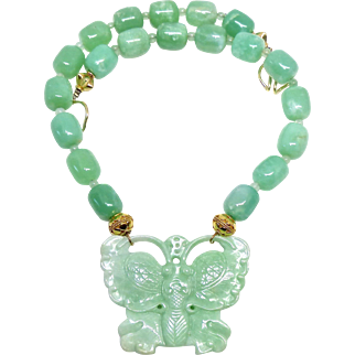 Carved Green Jade Butterfly with Green Chrysoprase Beads Necklace
