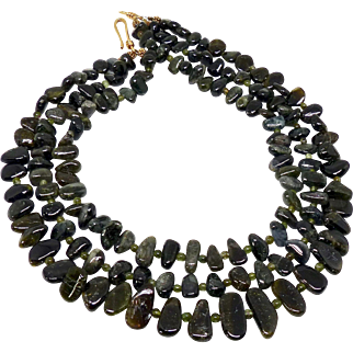 Natural Green Tourmaline Nuggets Triple Strand Necklace