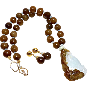 Carved Natural Two Color Jade - Blue and Brown - Dragon with Serpentine Jade Necklace