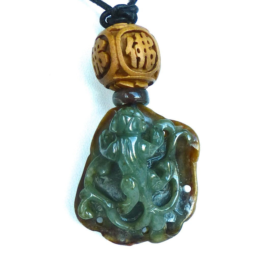 Green and Brown Bi-color Jade dragon Pendant Necklace from ...