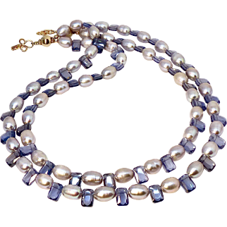 Rice Pearl and Faceted Blue Cubic Zirconium Double Strand Necklace
