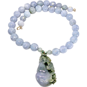 Natural Lavender and Green Jade Dragon and Gourd with Natural Lavender Blue Burmese Jade Necklace