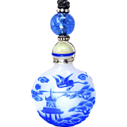 Vintage Chinese Blue and White Perfume Bottle Pendant Necklace