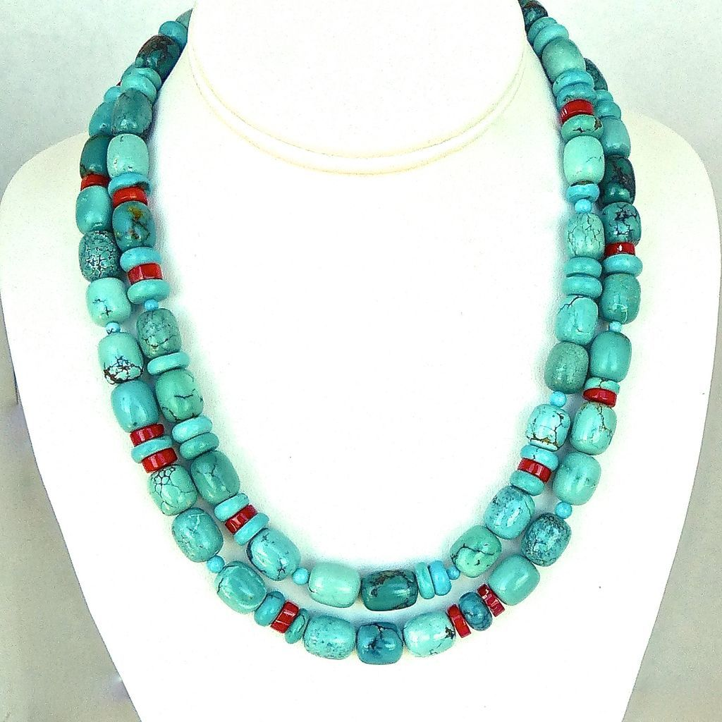 Chinese turquoise and red coral double stranded necklace for Eurasia jewelry miami fl