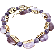 Natural Lavender Shell and Cape Amethyst Necklace