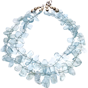Quality Clear Blue Aquamarine Drops Double Stand Necklace