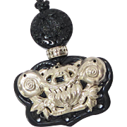 Antique Chinese Silver Frog and Lotus, Black Onyx Double Phoenix Pendant Necklace