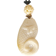 Carved White Serpentine Fish, White Jade Pendant Necklace