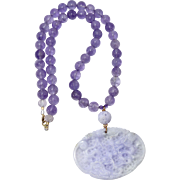 Carved Natural Lavender Jade Two Dragons, Cape Amethyst, 14K Gold Necklace