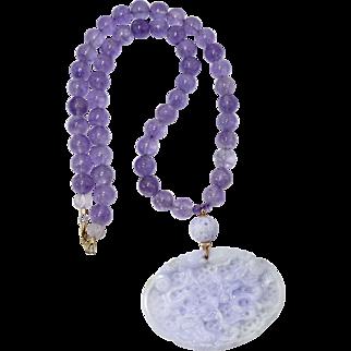 Carved Natural Lavender Jade Two Dragons, Cape Amethyst, 14K Gold Necklace