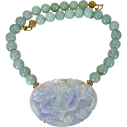 Lavender and Green Carved Jadeite Jade Dragon, Burmese Jade Necklace