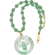 Green Jadeite Swinging Monkey, Carved Green Aventurine Necklace