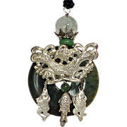 Antique Chinese Silver Fish, Bat, and Lotus on a Green Jasper Disk Pendant Necklace