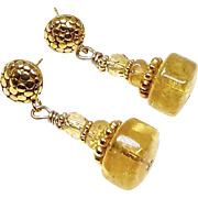 Golden Citrine and Faceted Citrine Drop Earrings