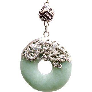 Vintage Vietnamese Green Jade with Silver Repousse Dragons and Phoenix and Silver Woven Chain Necklace